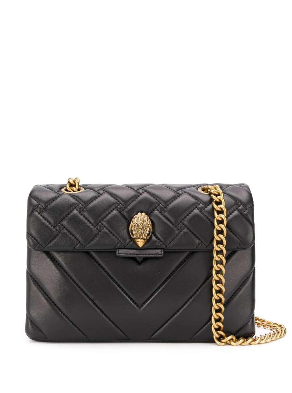 Kensington Black Leather Crossbody Bag With Logo