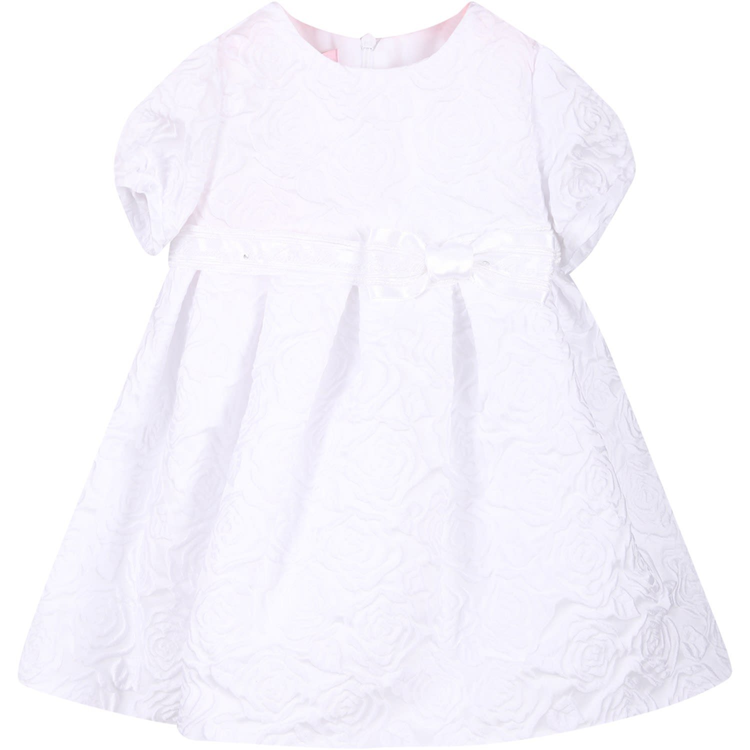 Blumarine White Babygirl Dress With All-over Roses