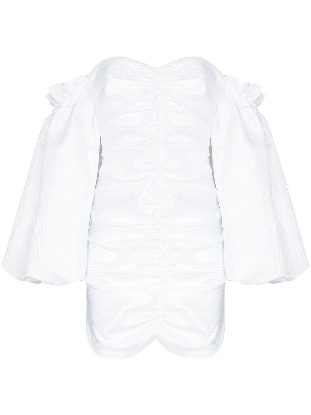 Rotate Birger Christensen Linings PHOEBE WHITE DRESS WITH PUFF SLEEVES