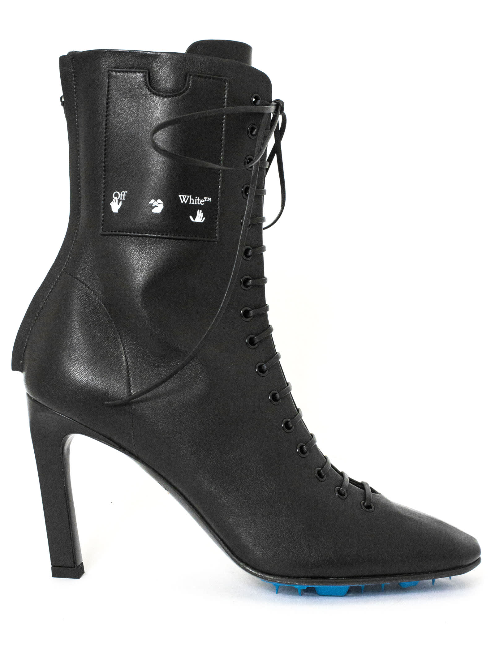 Off-White Black Leather Ankle Boots