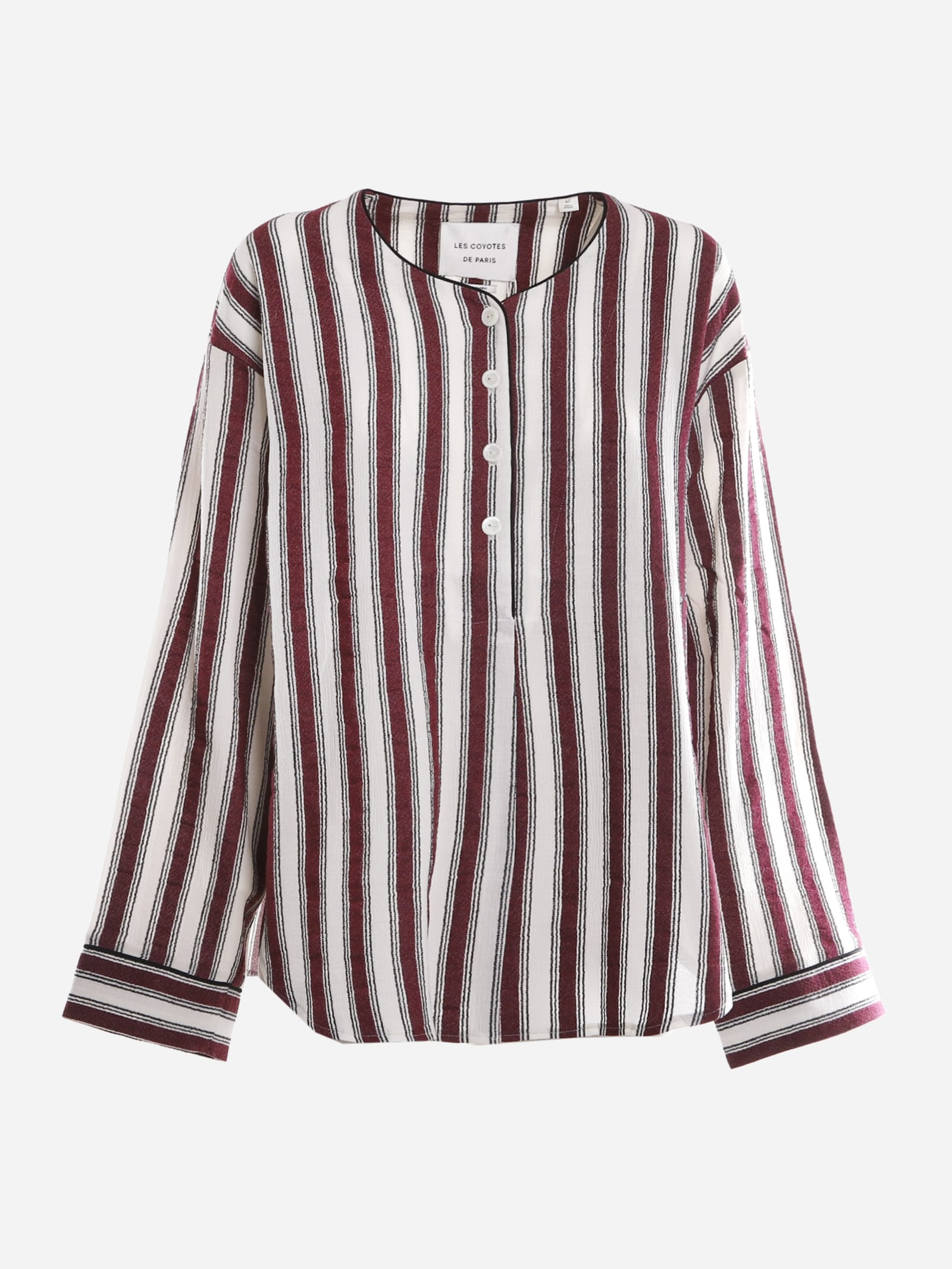 Cotton Blend Shirt With All-over Striped Pattern