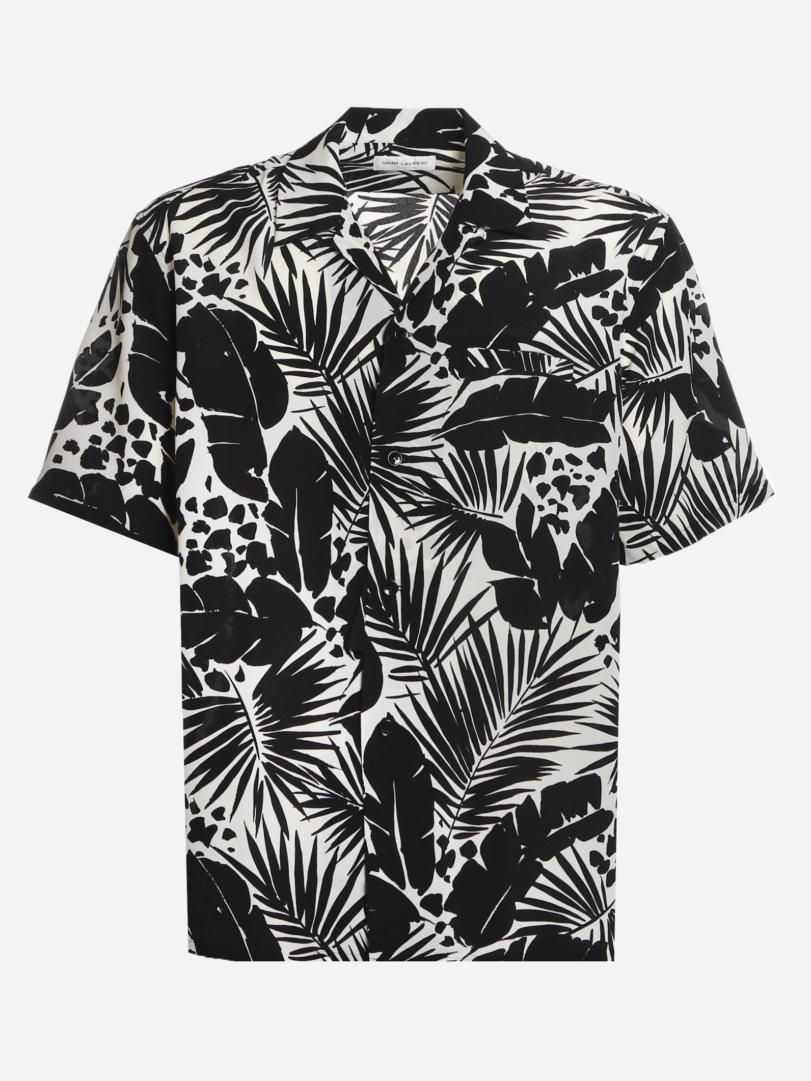 Saint Laurent Shirts SILK SHIRT WITH TROPICAL LEAF MOTIF