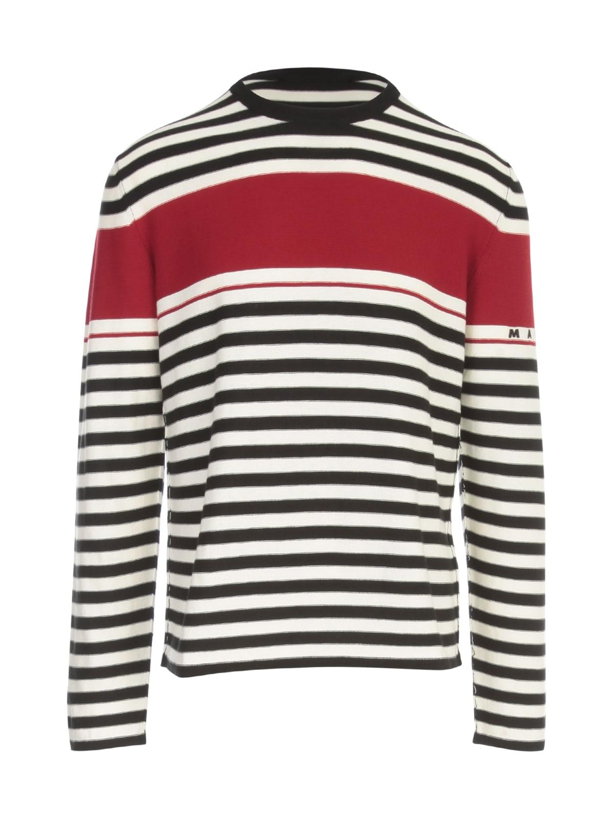 Marni Sweatshirts STRIPED CREW NECK L/S SWEATER W/LOGO ON SLEEVE