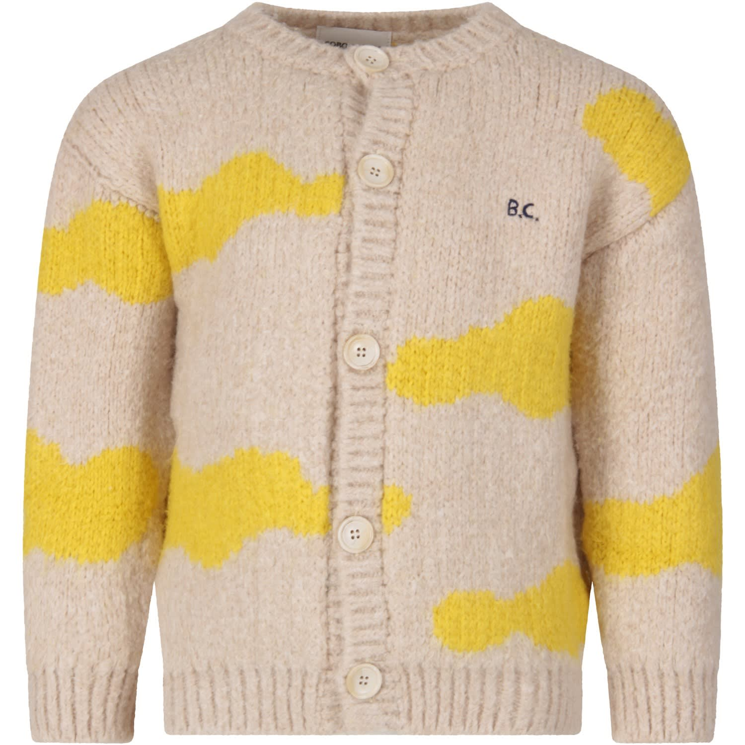 Bobo Choses IVORY KIDS CARDIGAN WITH YELLOW CLOUDS