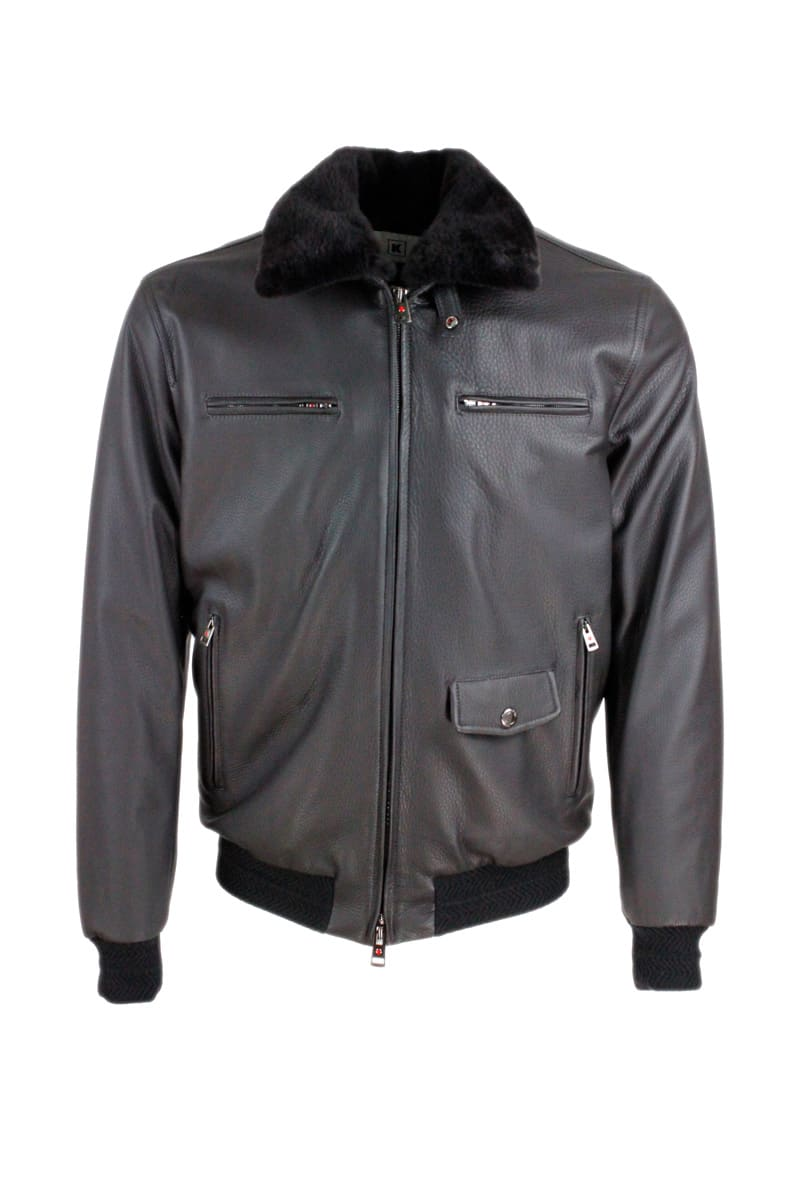 Bomber Jacket In Super Soft Deerskin With Cashmere Lining And Detachable Fur Collar