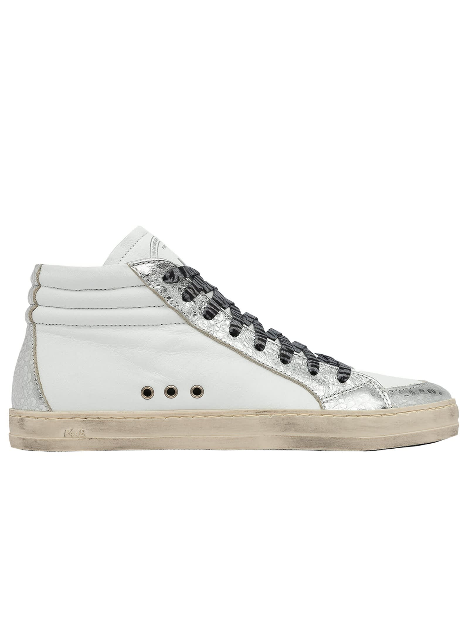 P448 S20SKATE-W WHITE AND SILVER SKATE SNEAKERS