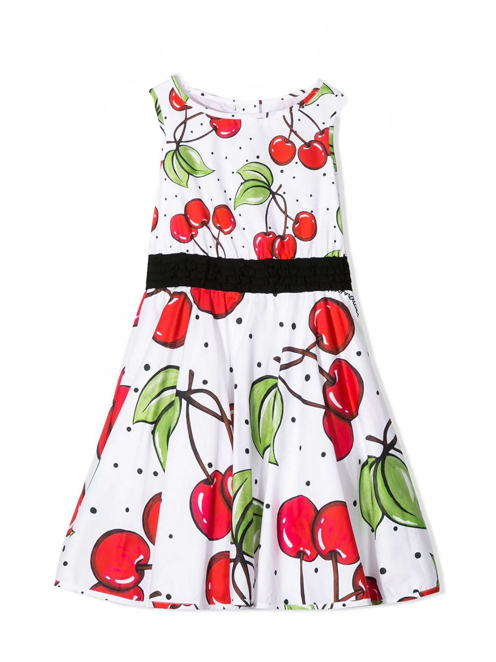 Buy Monnalisa Red And White Cotton Dress online, shop Monnalisa with free shipping