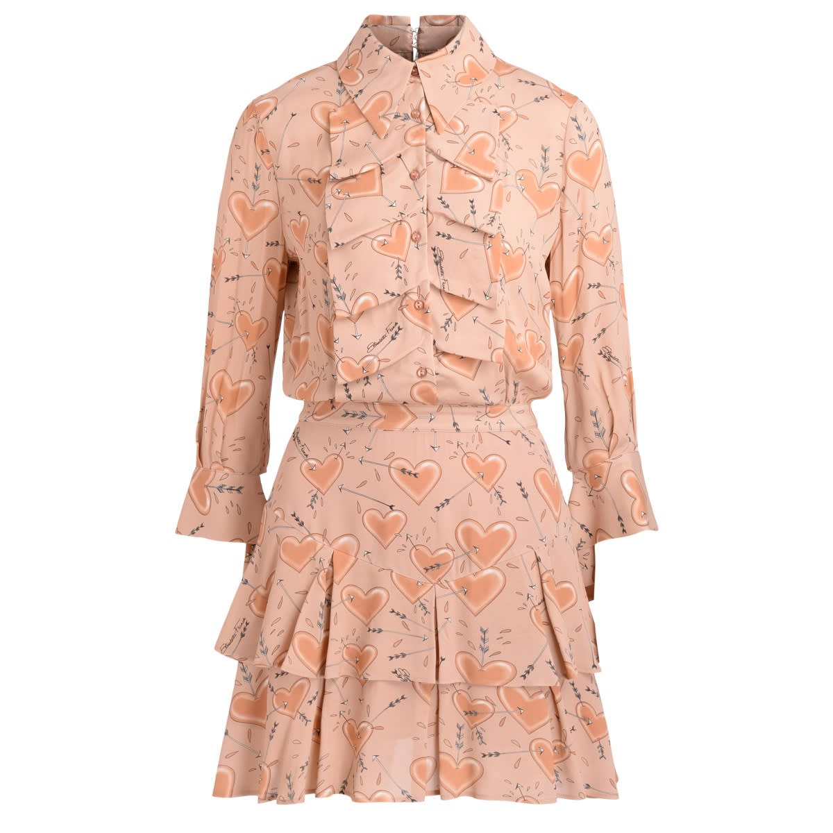 Dress Elisabetta Franchi In Pink Blush With Heart Shaped Print