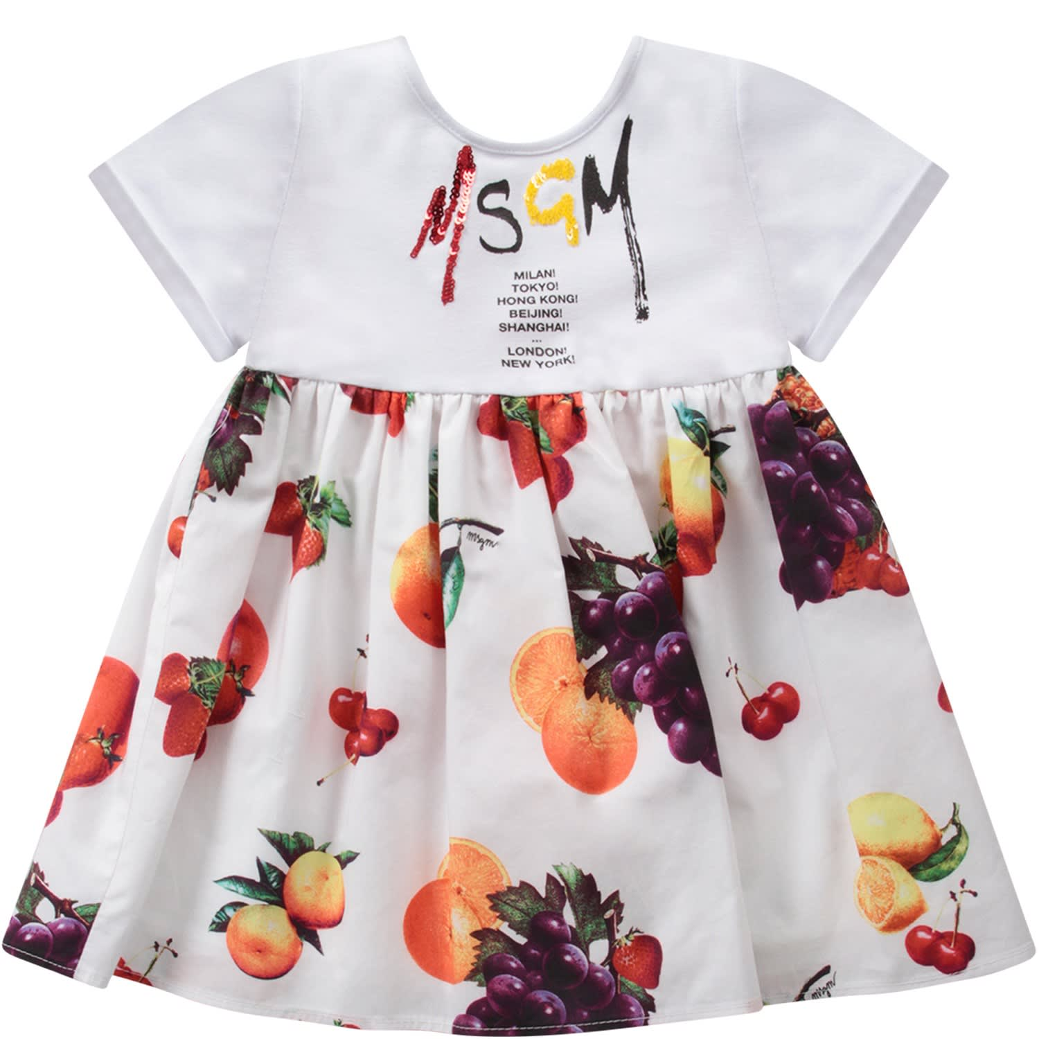 Buy MSGM White Dress With Logo For Baby Girl online, shop MSGM with free shipping