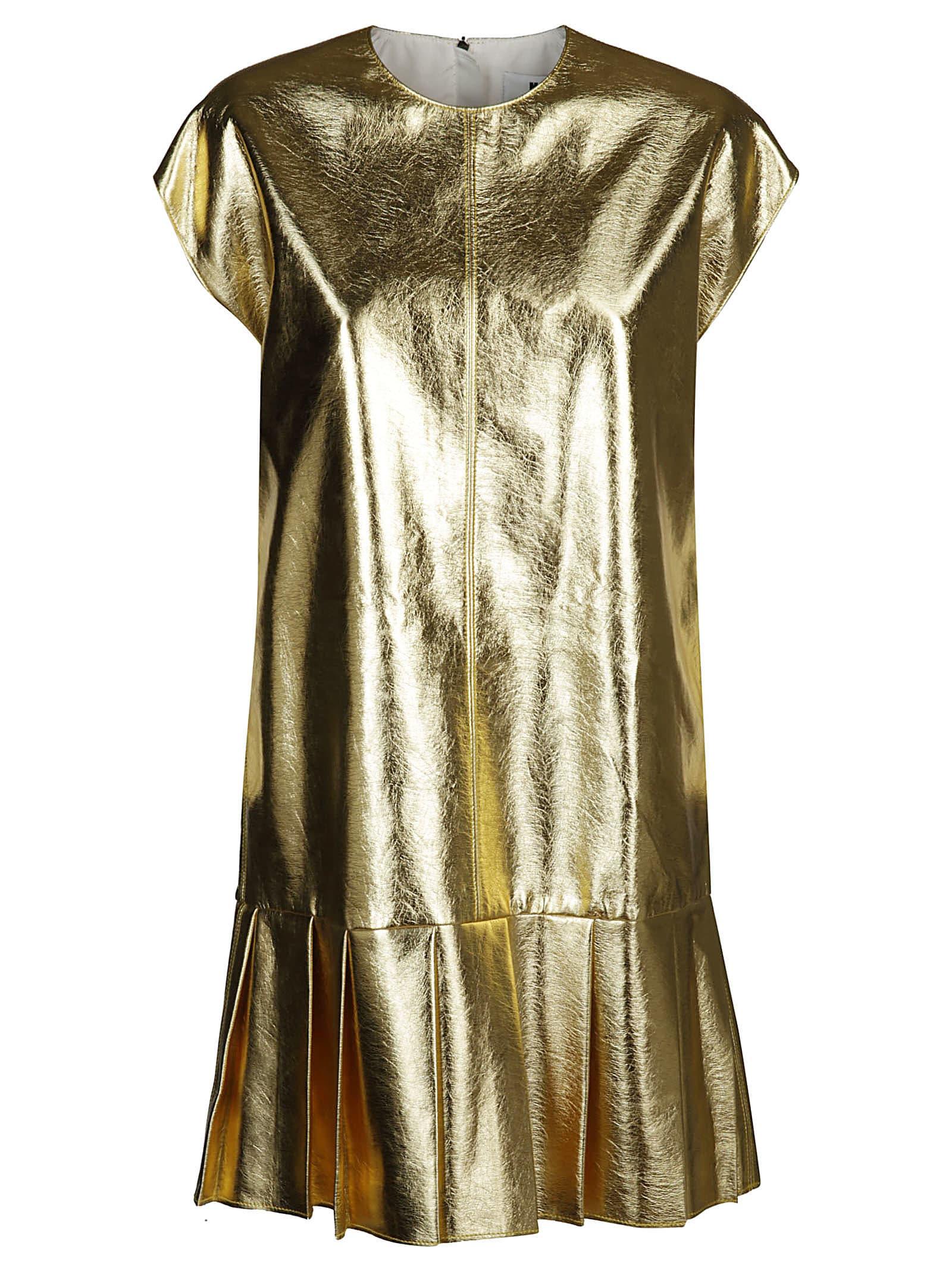 MSGM Gold Pleated Shift Dress