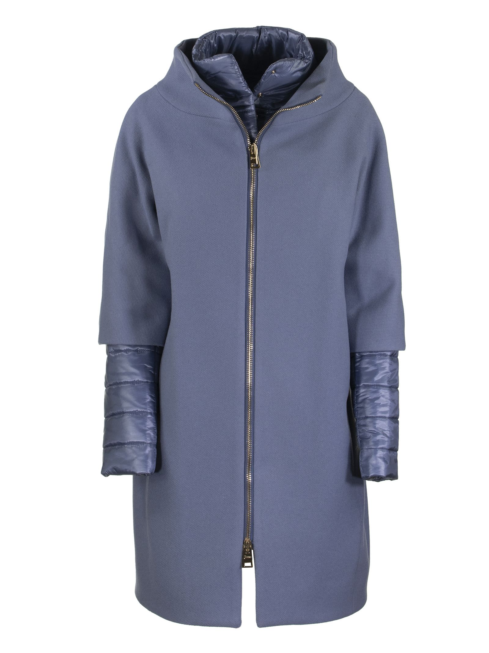 Herno LONG JACKET WITH EXTERNAL WOOL COAT