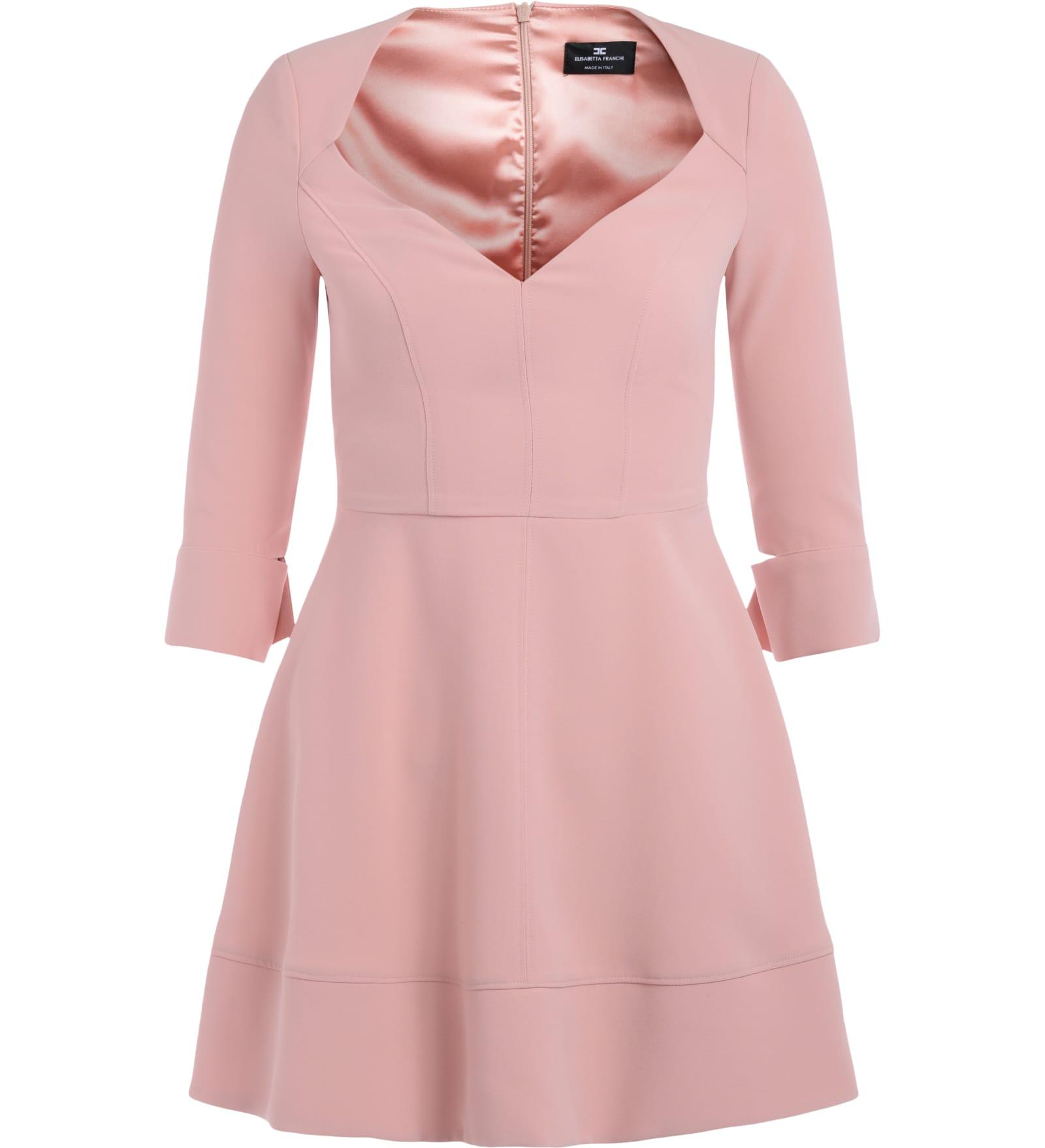 Elisabetta Franchi Antique Pink Dress With Low-cut Bodice