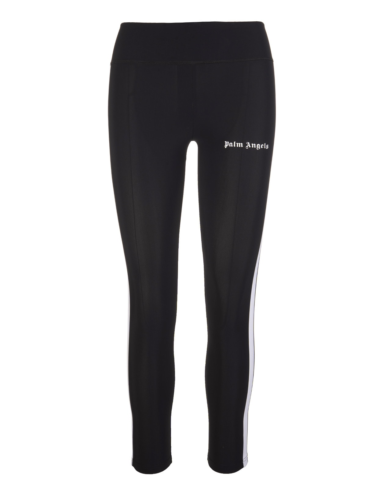 Palm Angels Woman Black Sports Leggings With Logo And Side Stripes