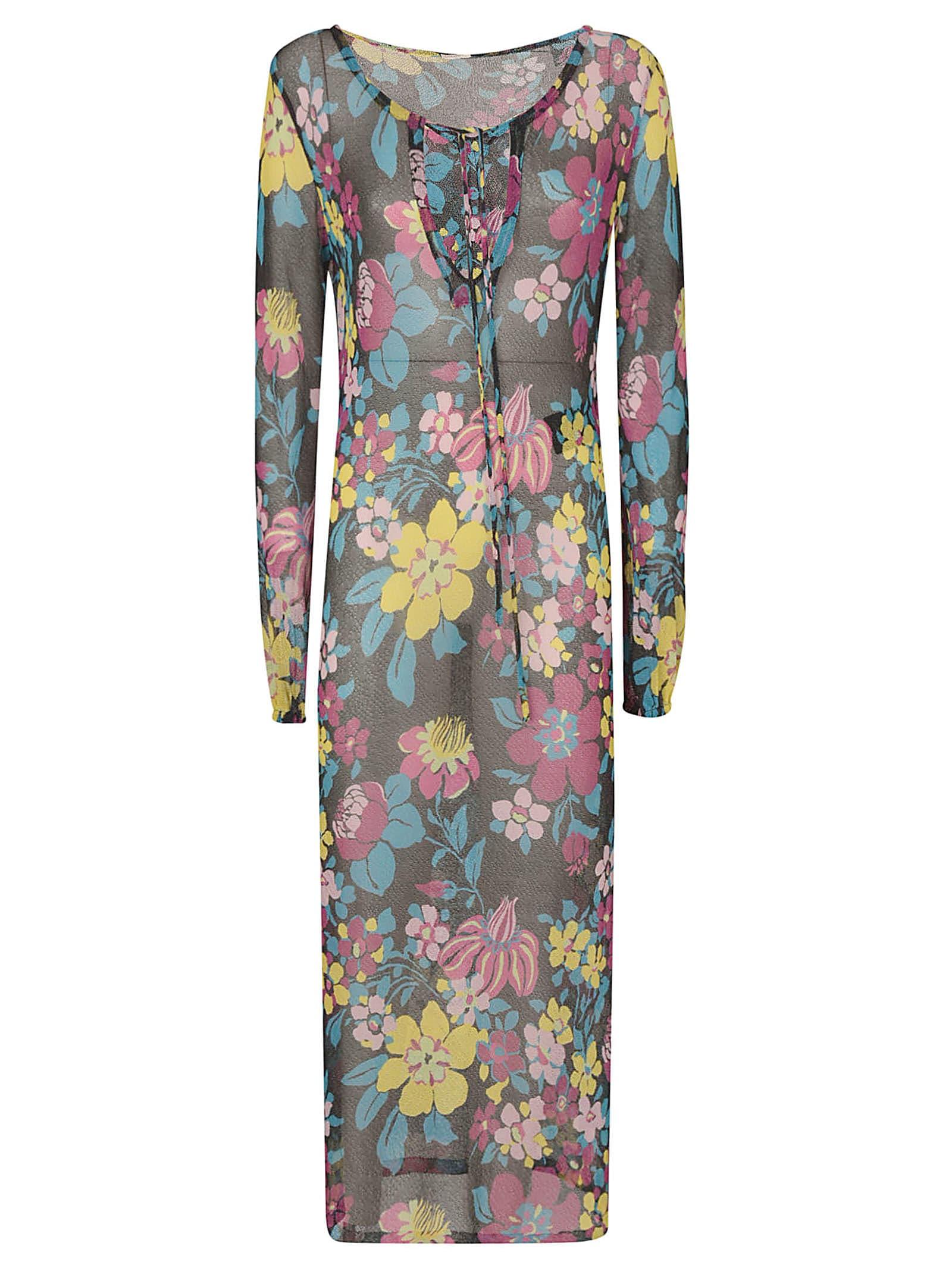 Buy Saint Laurent Floral Print Lace Dress online, shop Saint Laurent with free shipping