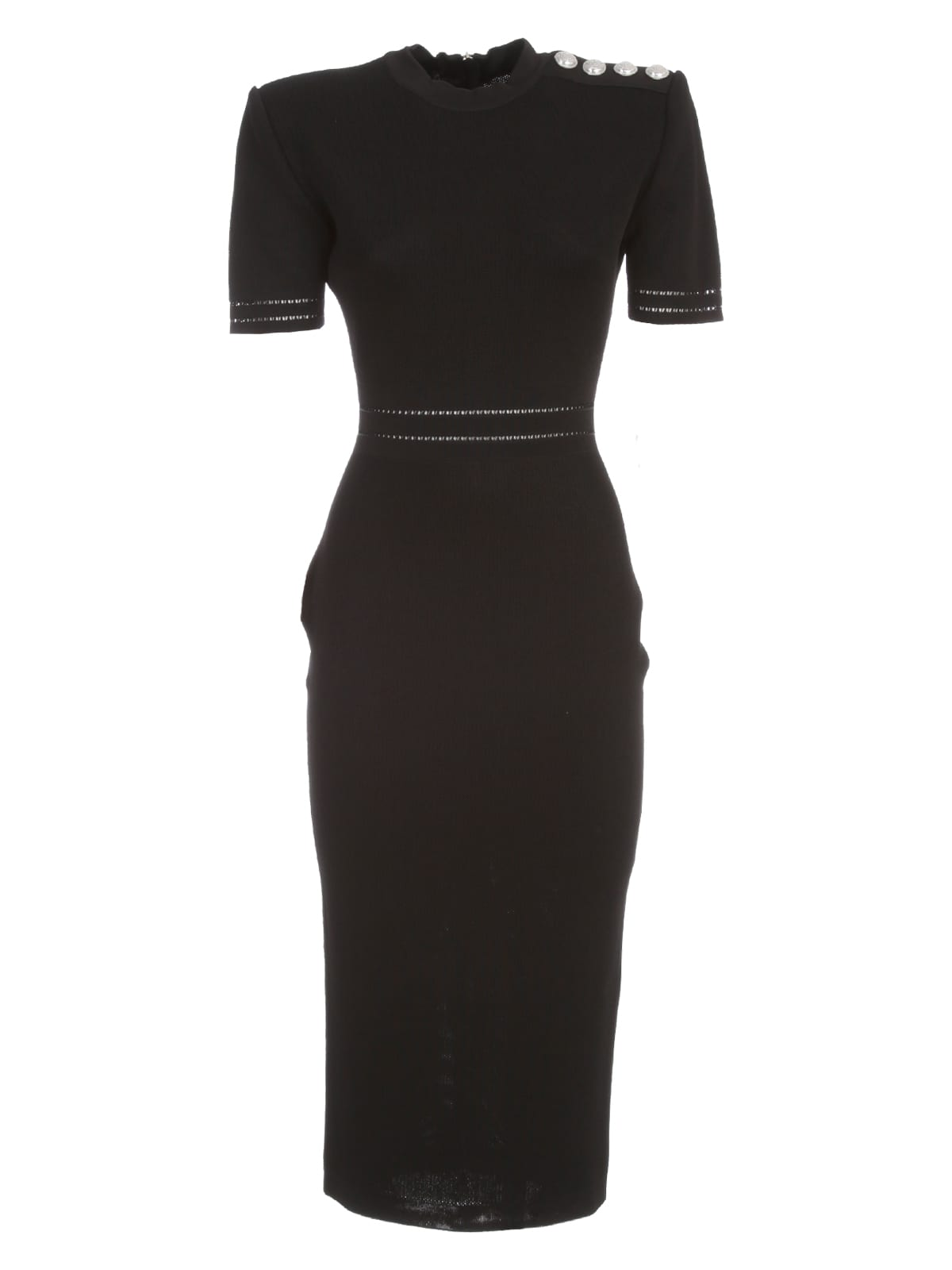 Buy Balmain Ss Viscose Knit Midi Dress online, shop Balmain with free shipping