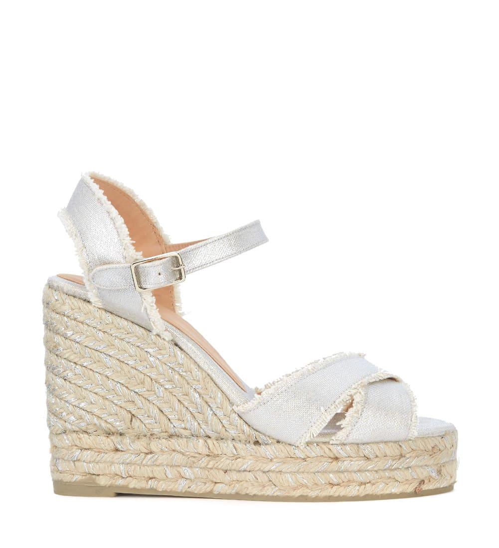 63be5358754 Castañer Bromelia Silver Fabric Wedge Sandal With Fringe