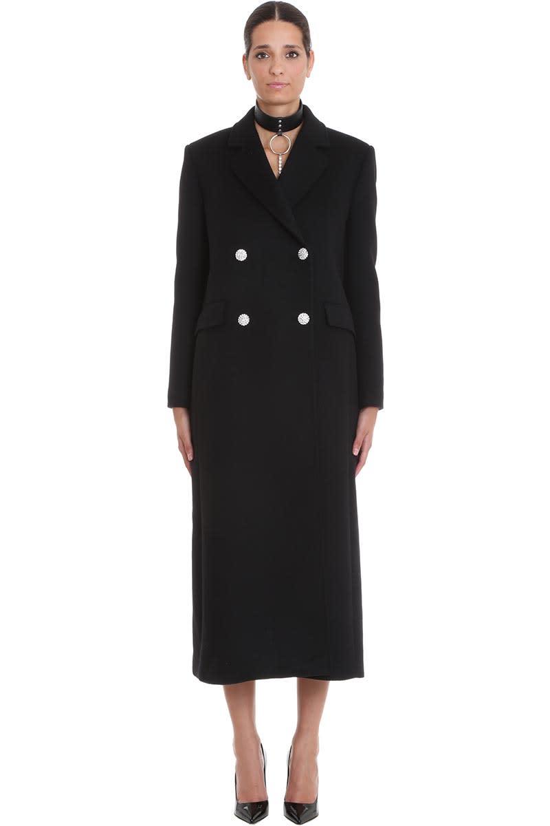 Alessandra Rich Coat In Black Wool
