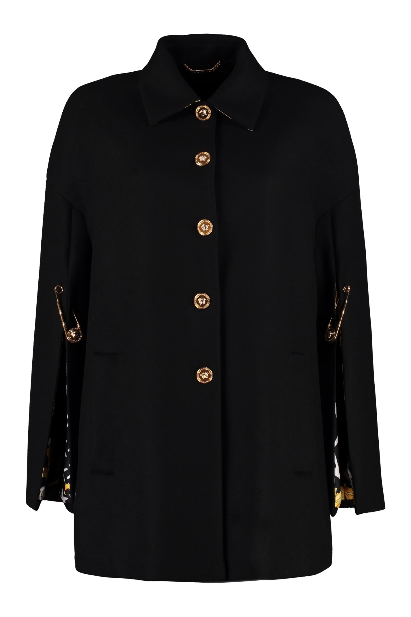 Versace Wool Cape With Printed Lining