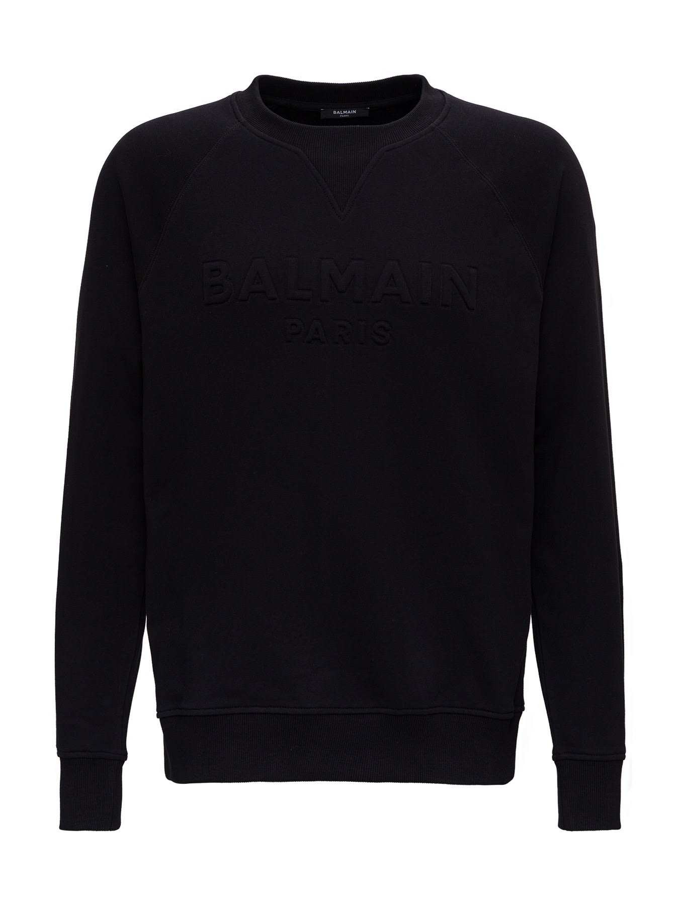 Balmain Cotton Sweatshirt With Embossed Logo
