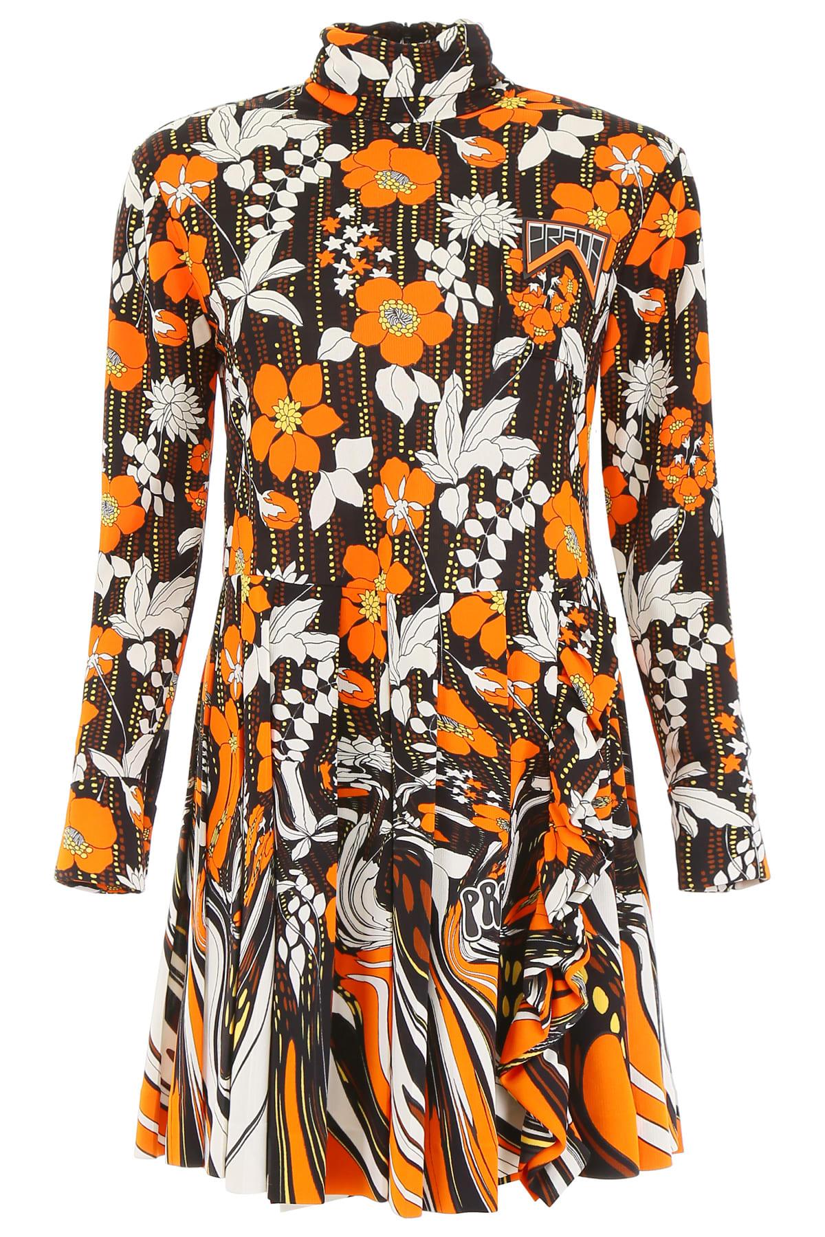 Photo of  Prada Floral Printed Dress- shop Prada  online sales