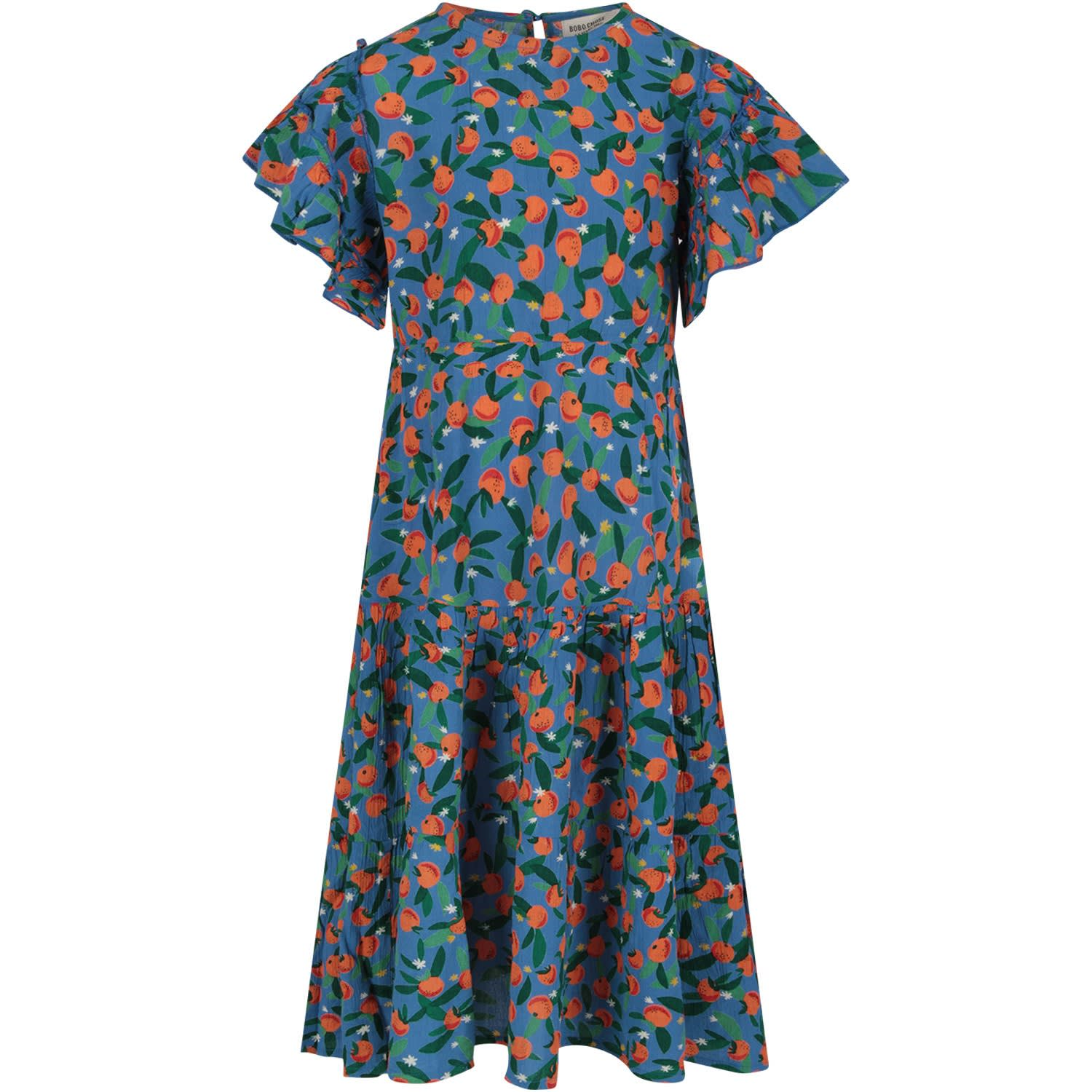 Buy Bobo Choses Light Blue Girl Dress With Ornage Tangerine online, shop Bobo Choses with free shipping