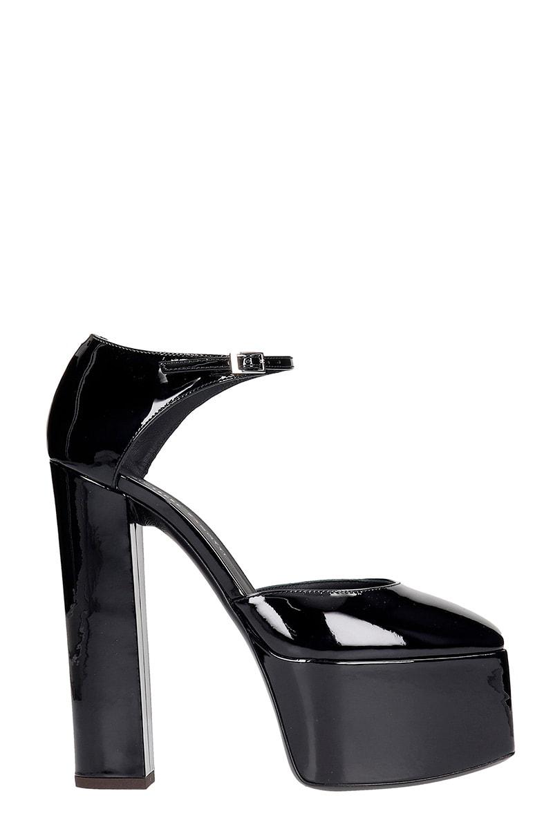 Giuseppe Zanotti Bebe Sandals In Black Patent Leather