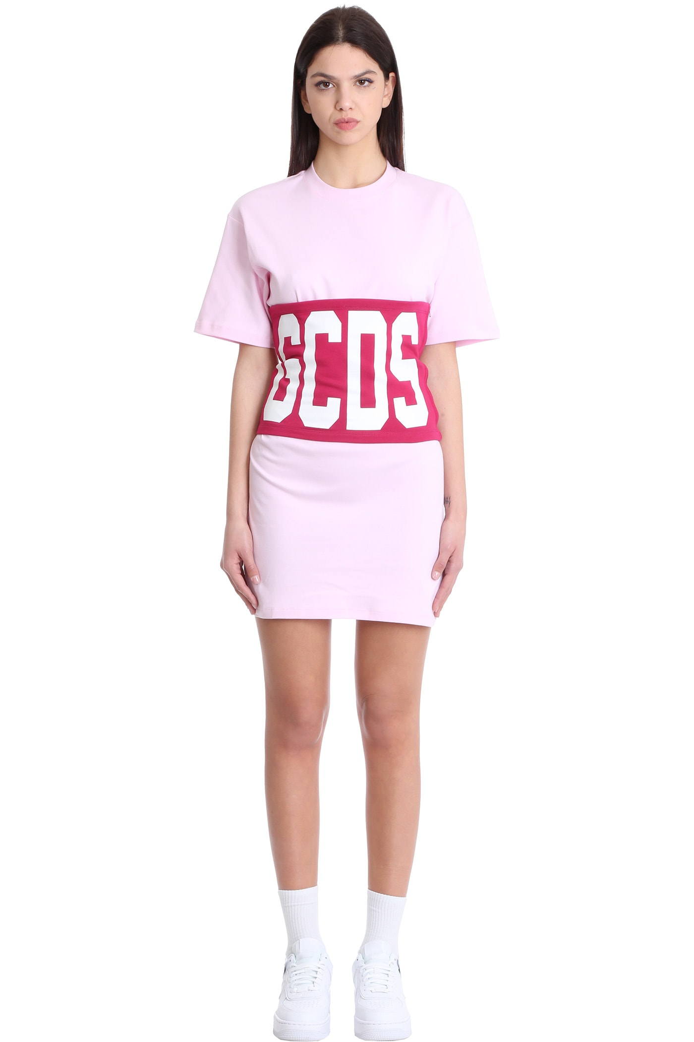 Buy GCDS Dress In Rose-pink Cotton online, shop GCDS with free shipping