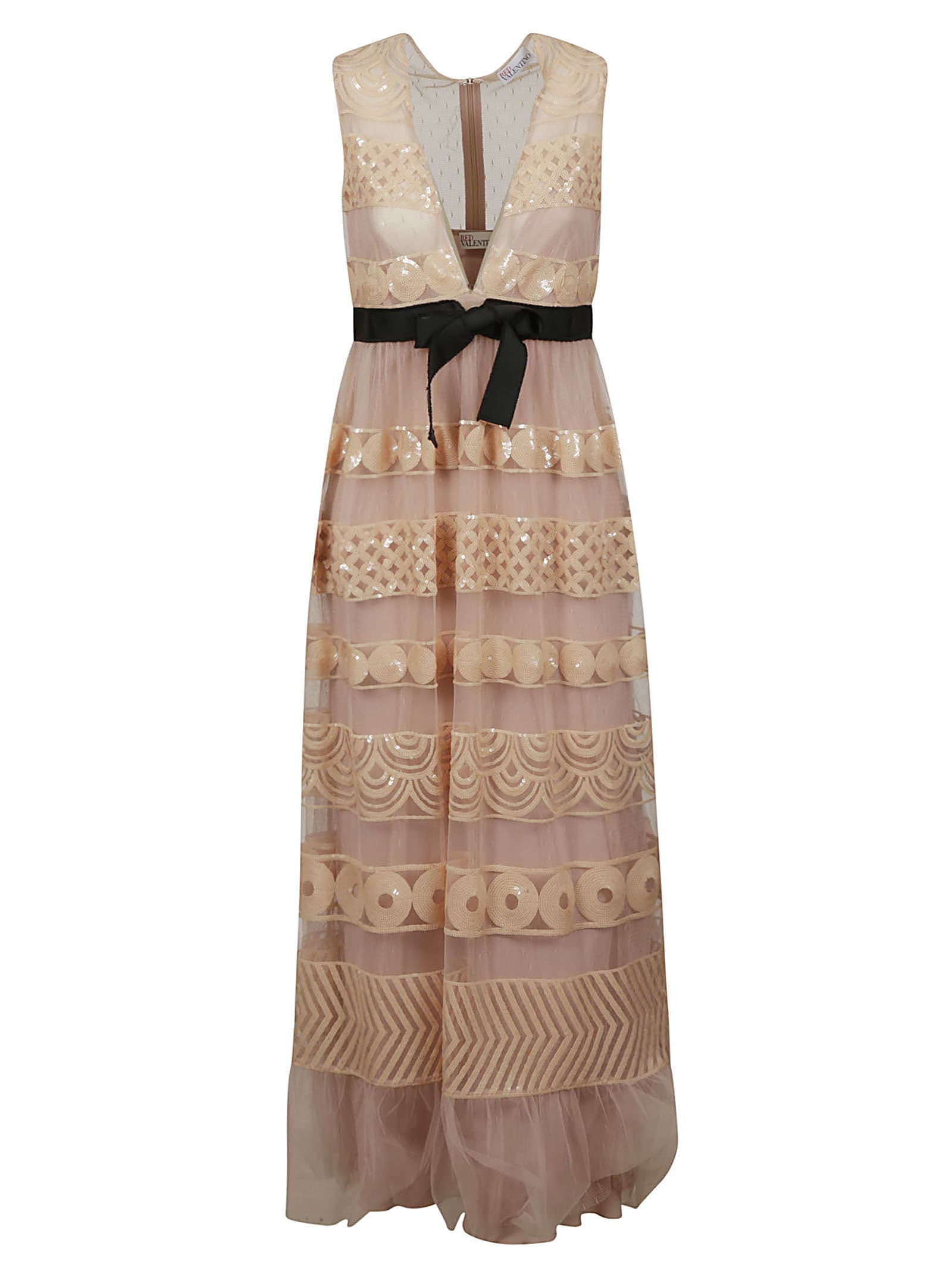 Buy RED Valentino Belted V-neck Lace Dress online, shop RED Valentino with free shipping