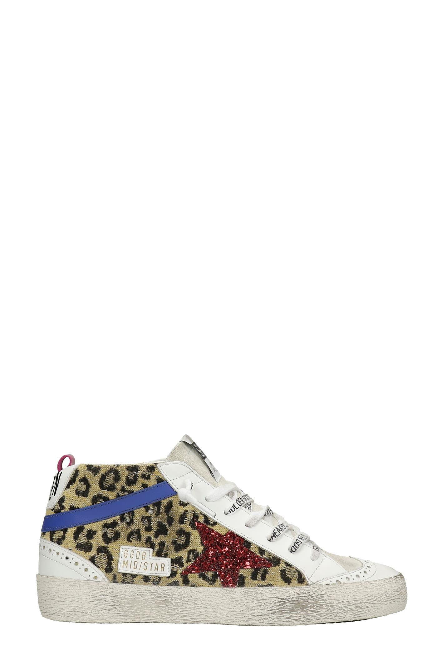 Golden Goose Mid Star Sneakers In White Leather And Fabric