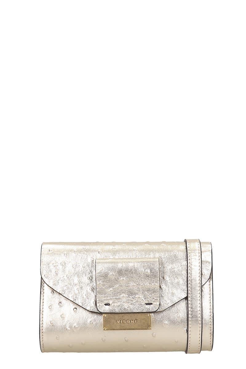 Visone Mila Shoulder Bag In Gold Leather
