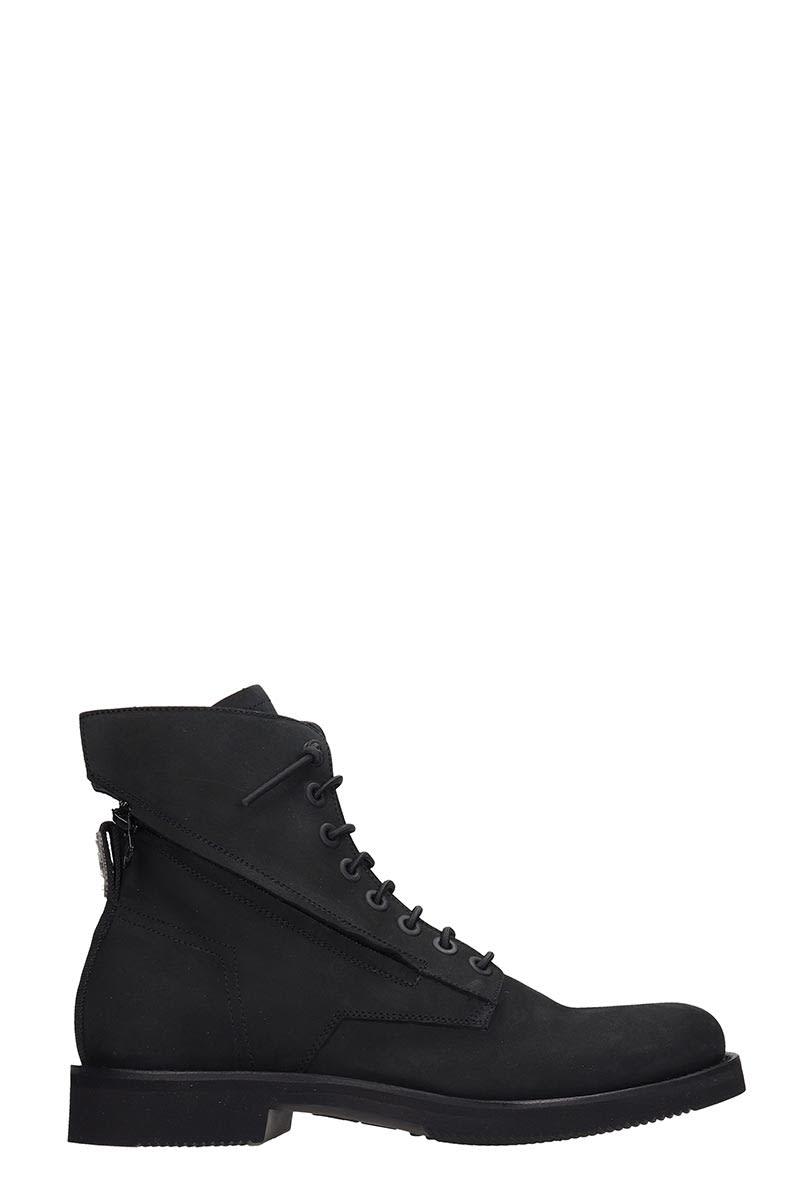 Bruno Bordese Combat Boots In Black Nubuck