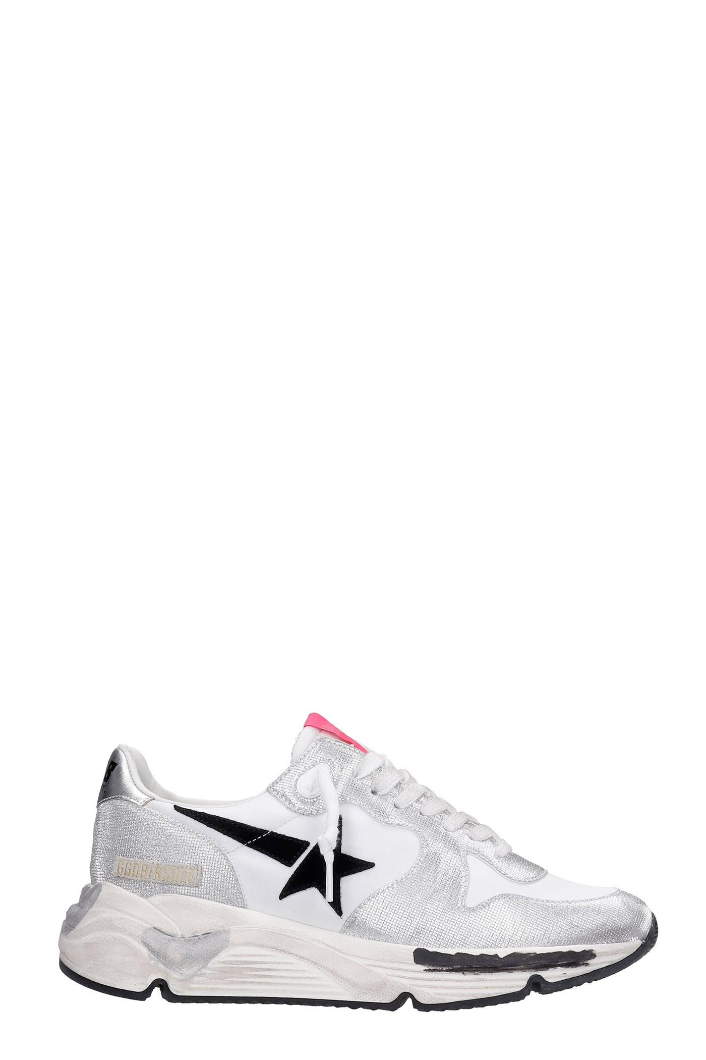 Golden Goose Running Sneakers In Silver Synthetic Fibers