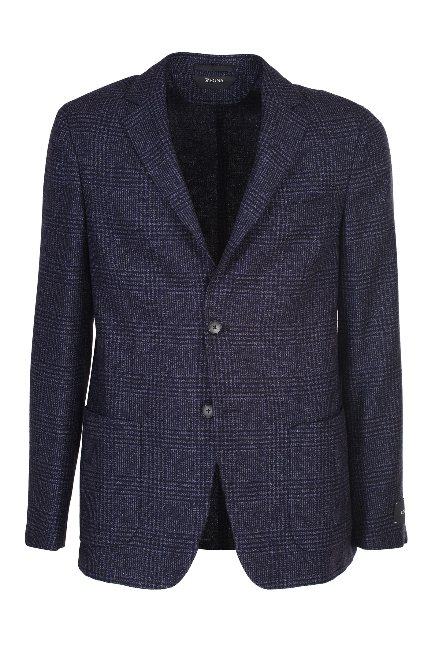 Z Zegna Cottons SINGLE-BREASTED JACKET, TWO BUTTONS IN BLUE PRINCE OF WALES