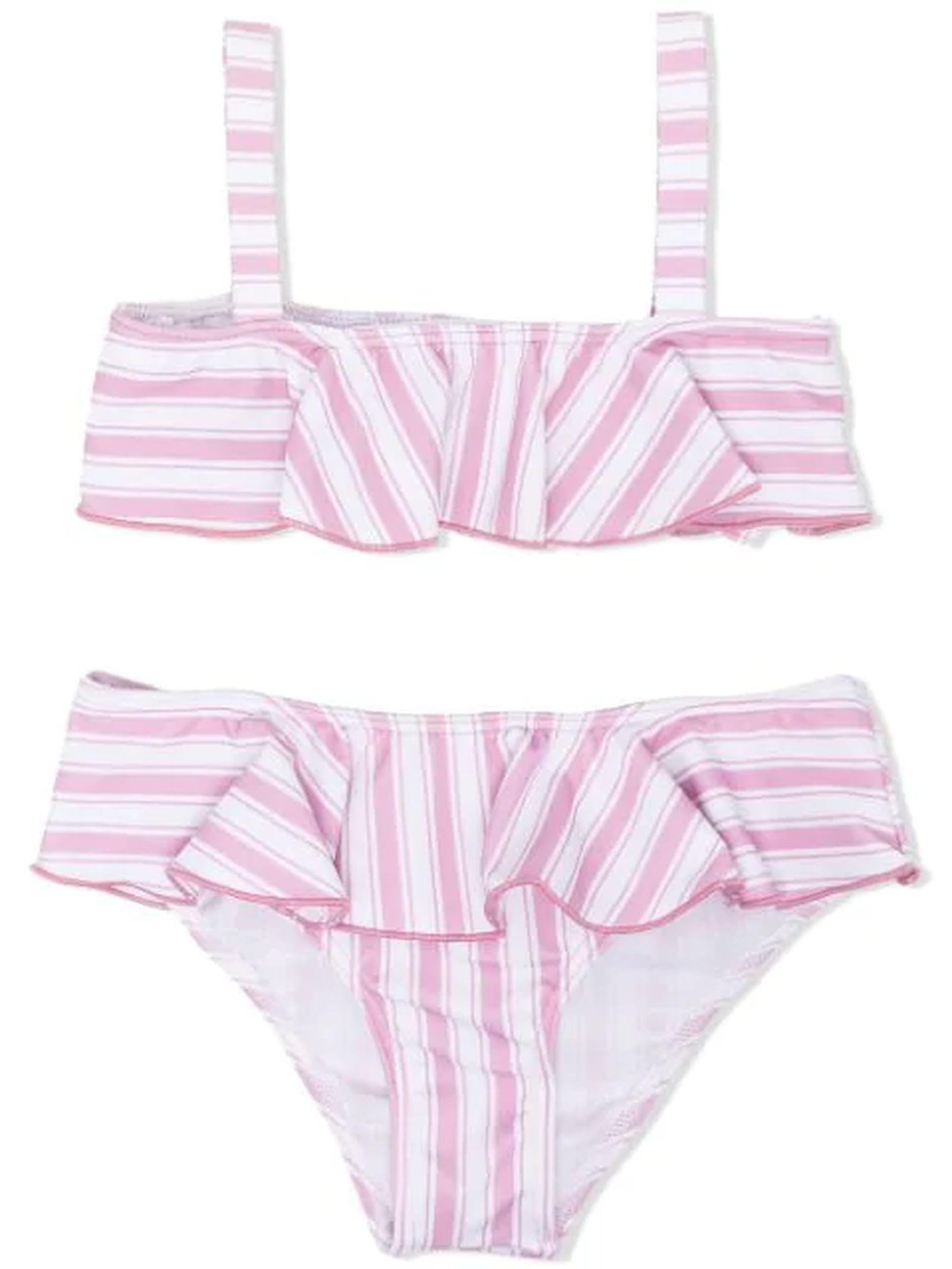 Light Pink And White Bikini Set