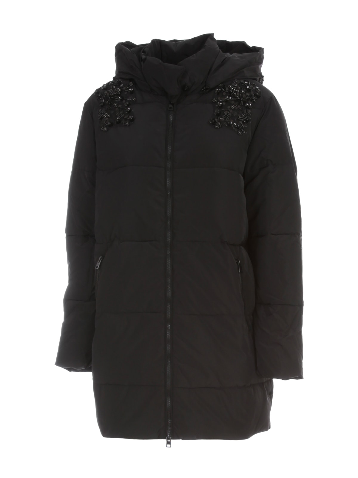 TwinSet Long Padded Jacket W/hood And Paillettes