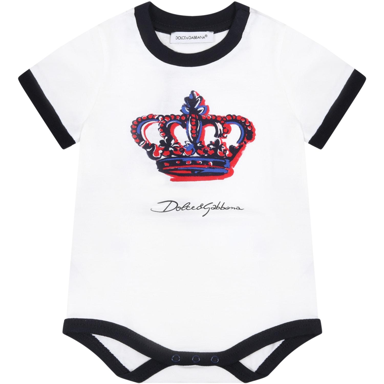 Dolce & Gabbana WHITE BODY FOR BABYKIDS WITH LOGO