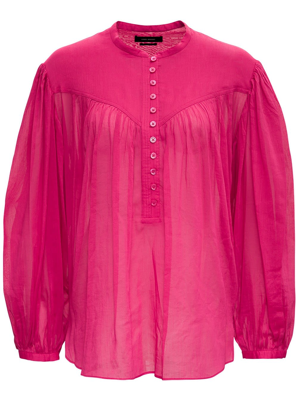 Isabel Marant Cottons KILEDIA PINK COTTON AND SILK BLOUSE