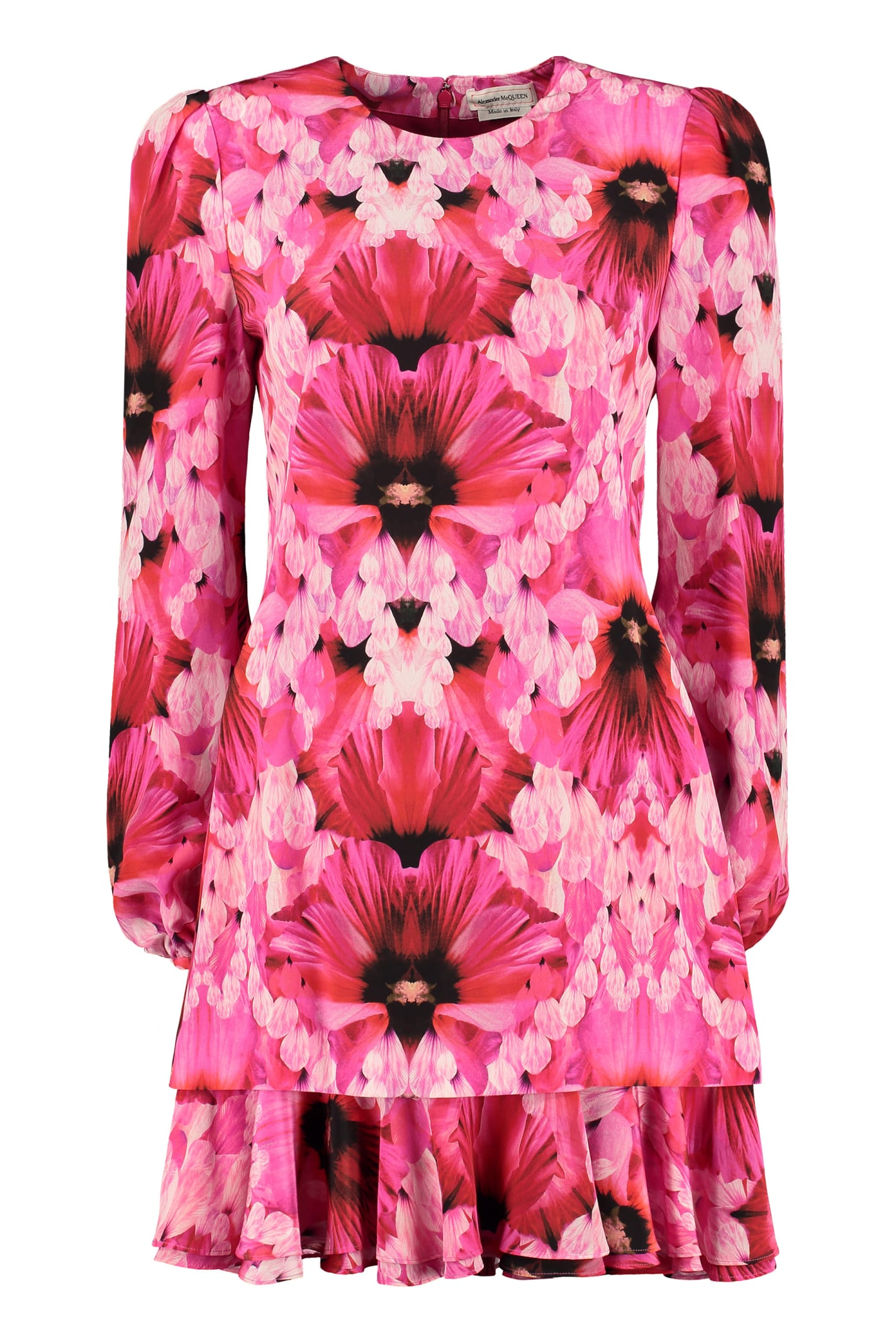 Buy Alexander McQueen Printed Silk Mini Dress online, shop Alexander McQueen with free shipping