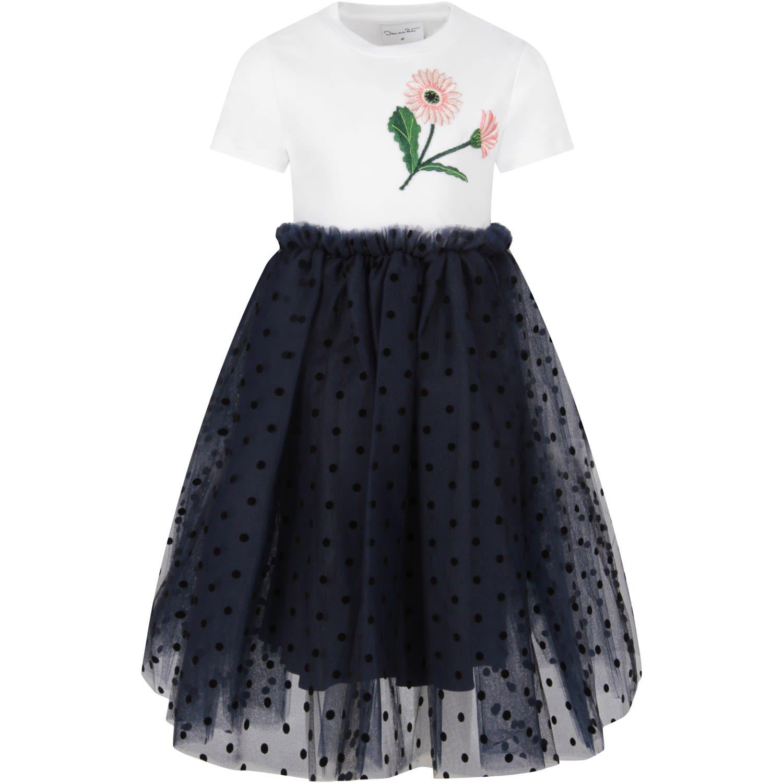 Buy Oscar de la Renta Bicolor Dress For Girl online, shop Oscar de la Renta with free shipping