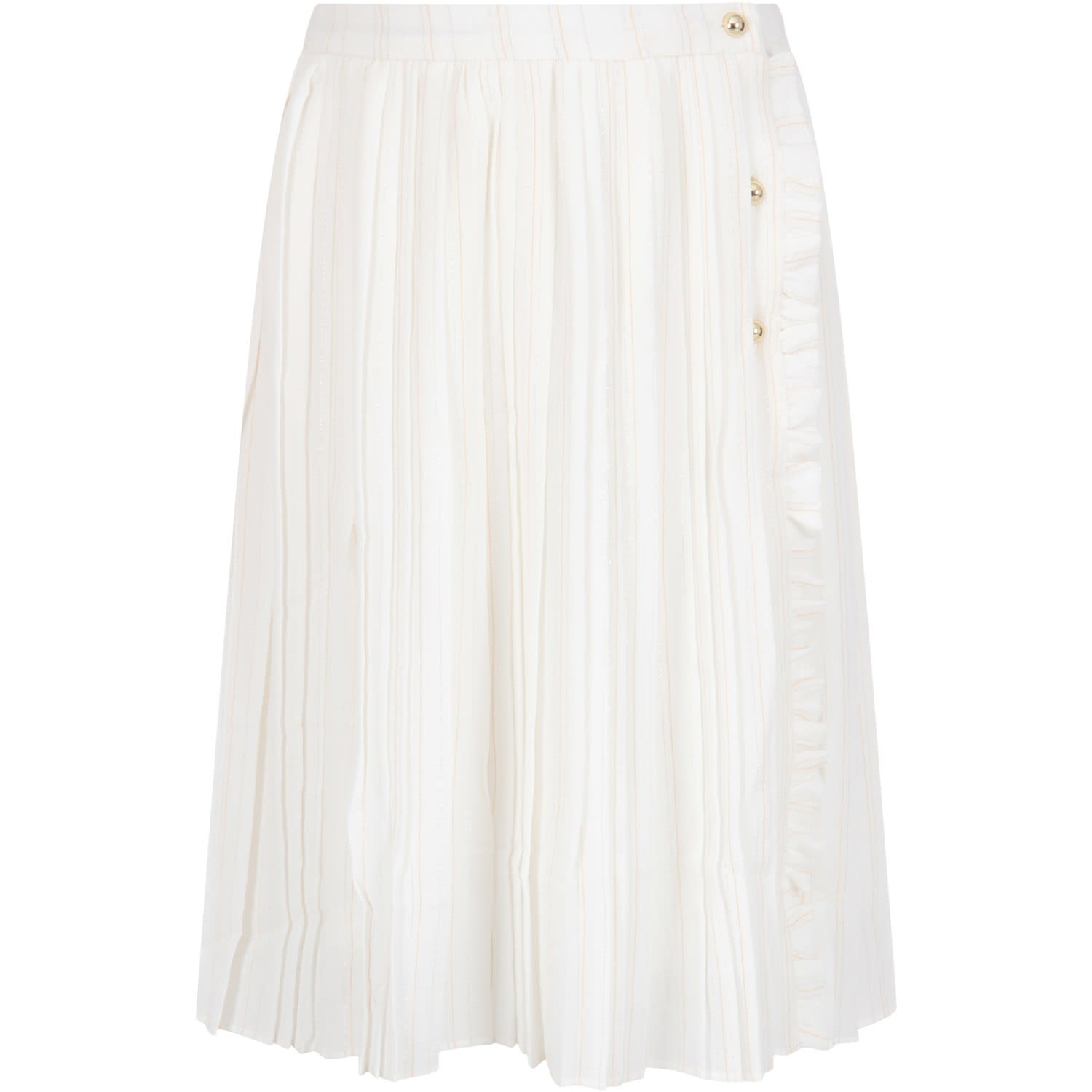 Color: White White pleated skirt, with elasticized wasitband and closure with buttons, on the front. It is embellished with lurex stripes all-over. 97% Polyester 3% Elastan. Machine wash at 30°C.