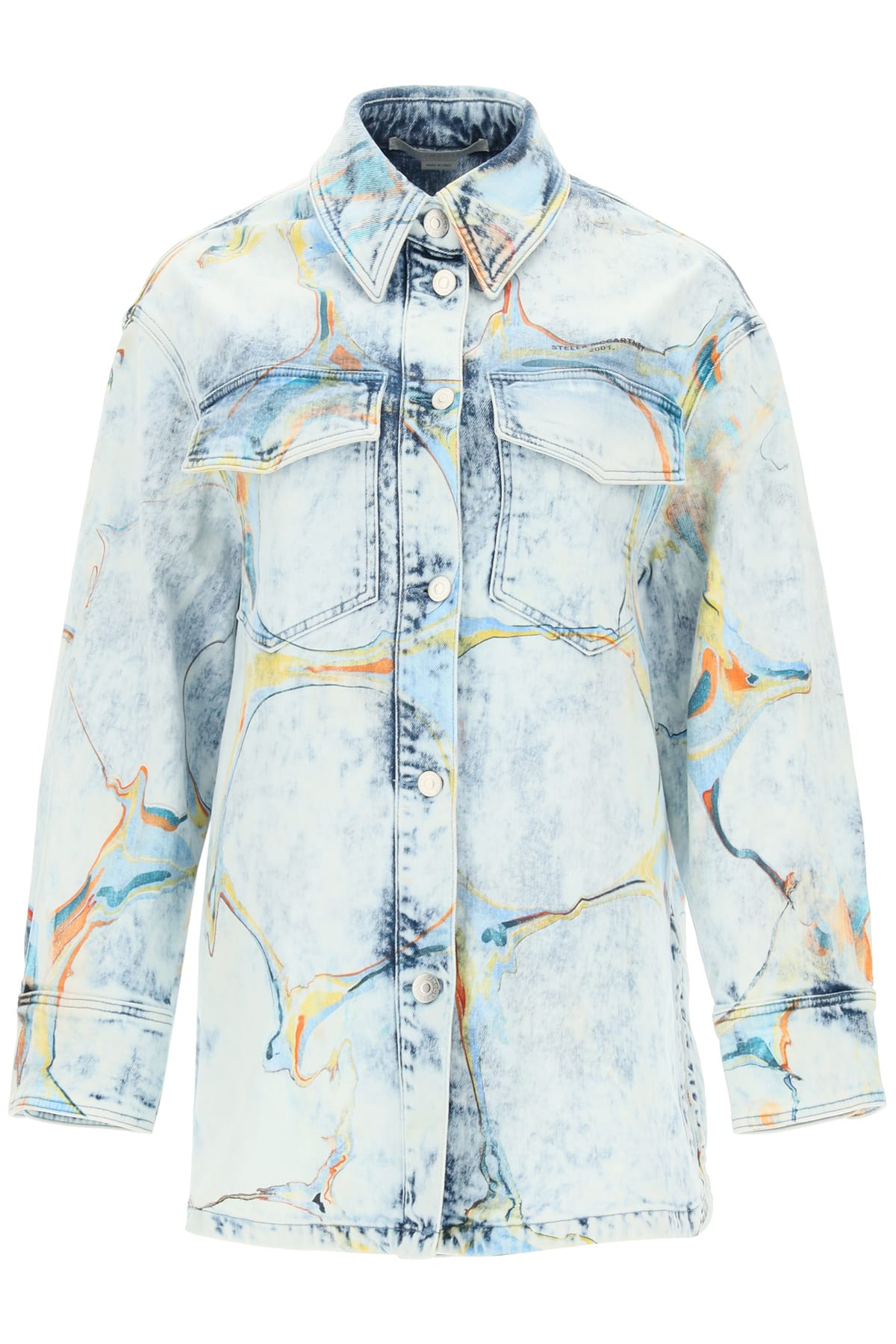 Stella Mccartney DENIM SHIRT-JACKET WITH MARBLED PRINT