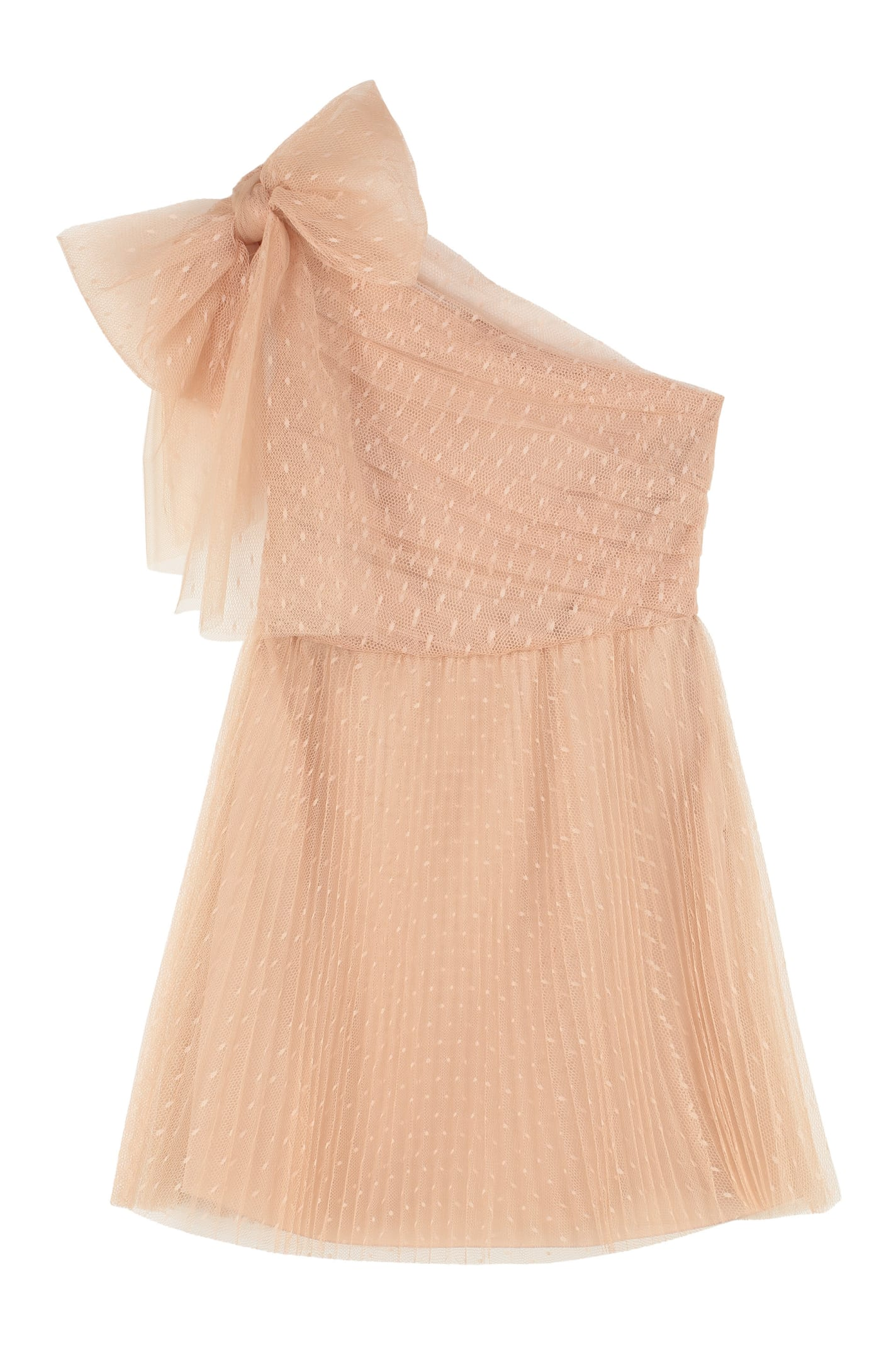 RED Valentino Draped Tulle One-shoulder Dress