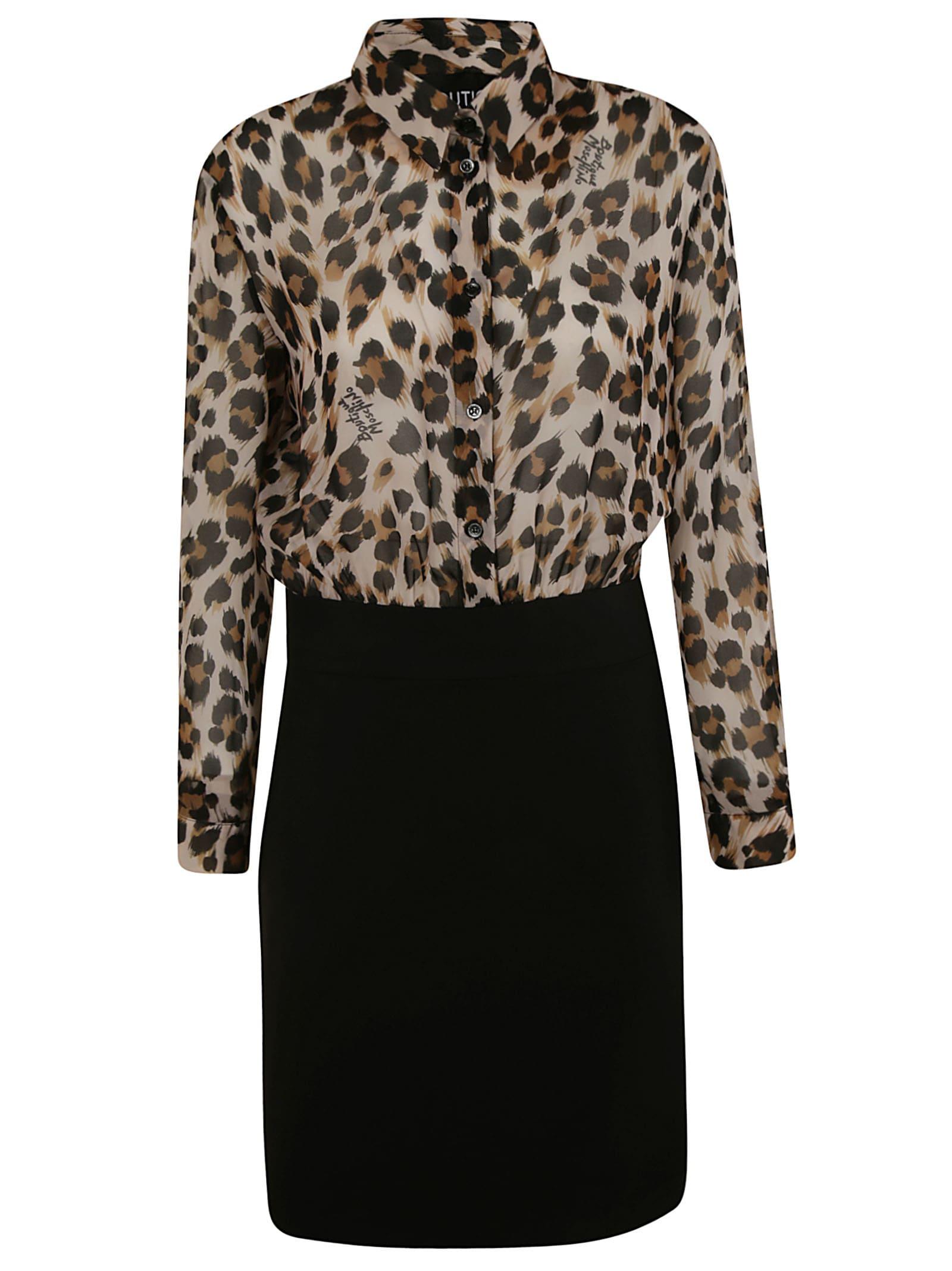 Moschino Leopard Print Shirt Dress