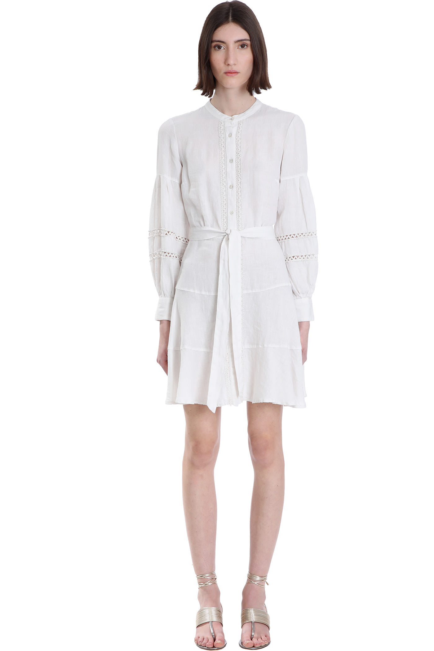 Buy 120% Lino Dress In White Cotton online, shop 120 Lino with free shipping