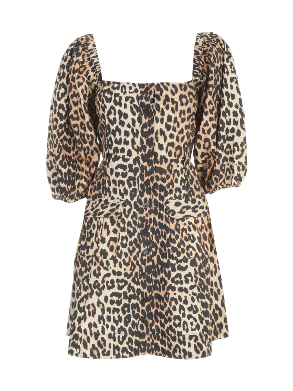 Buy Ganni Printed Cotton Poplin Wide Neck 3/4s Dress online, shop Ganni with free shipping