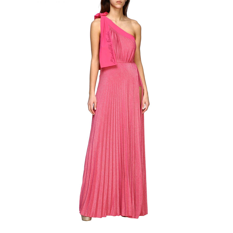 Elisabetta Franchi Celyn B. Elisabetta Franchi Dress Elisabetta Franchi Long One-shoulder Dress In Lurex Fabric With Logo In Fuchsia