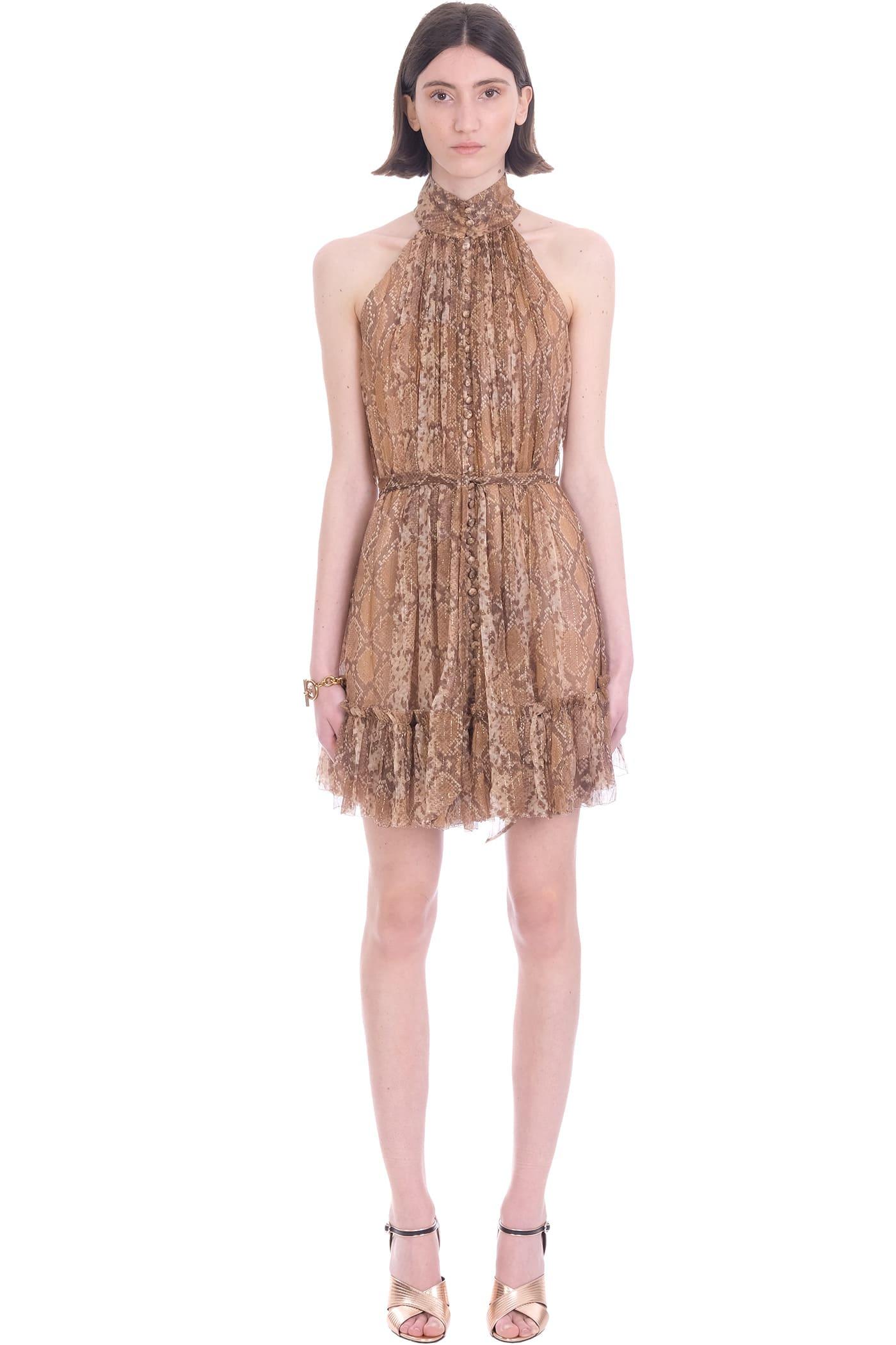 Buy Zimmermann Dress In Gold Silk online, shop Zimmermann with free shipping