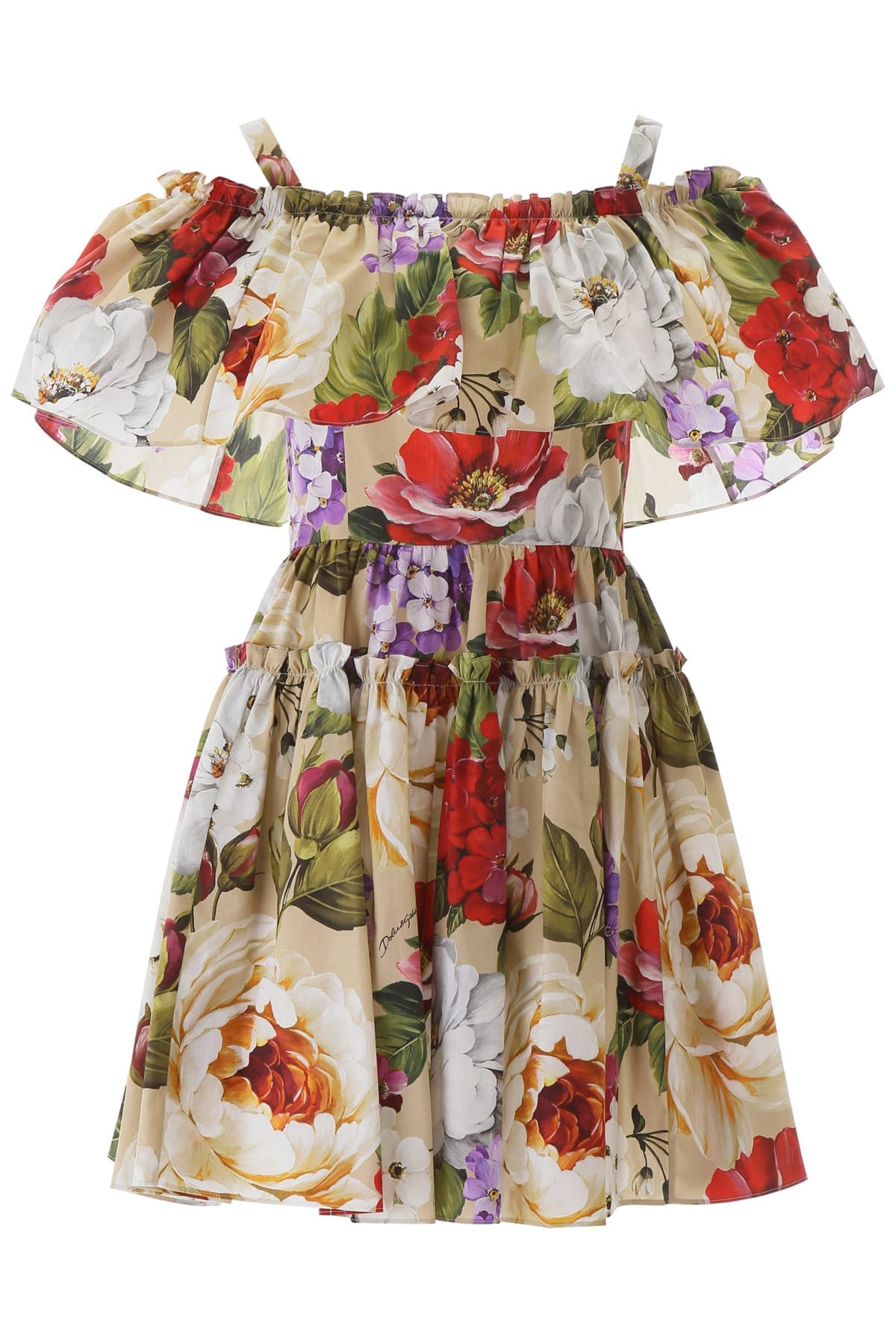 Buy Dolce & Gabbana Floral Print Short Dress online, shop Dolce & Gabbana with free shipping
