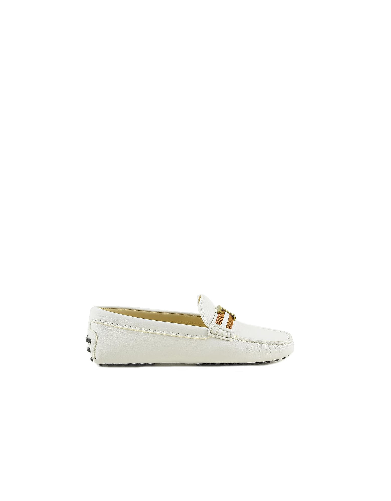 Buy Tods White Leather Loafer Shoes online, shop Tods shoes with free shipping