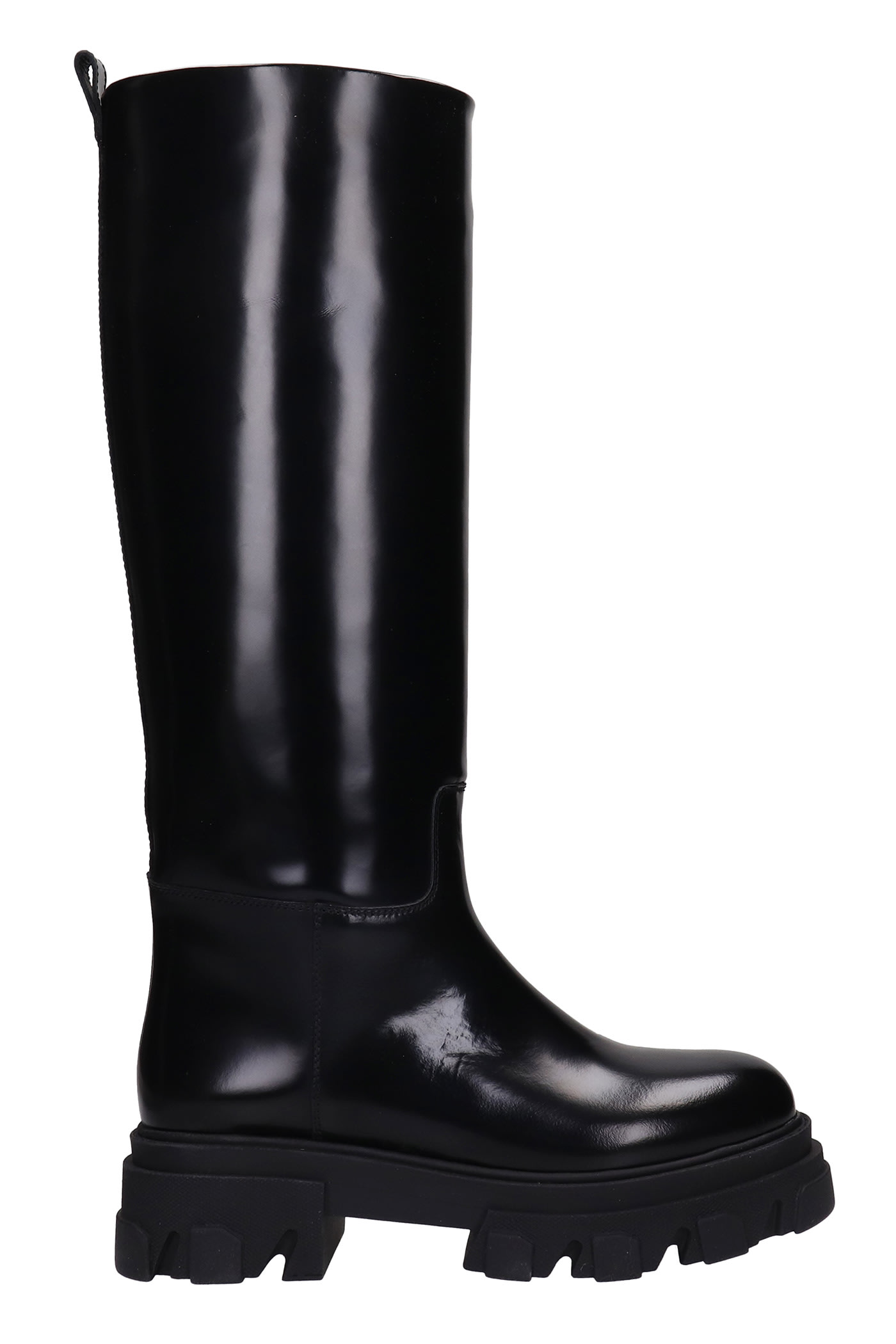 Perni 07 Low Heels Boots In Black Leather